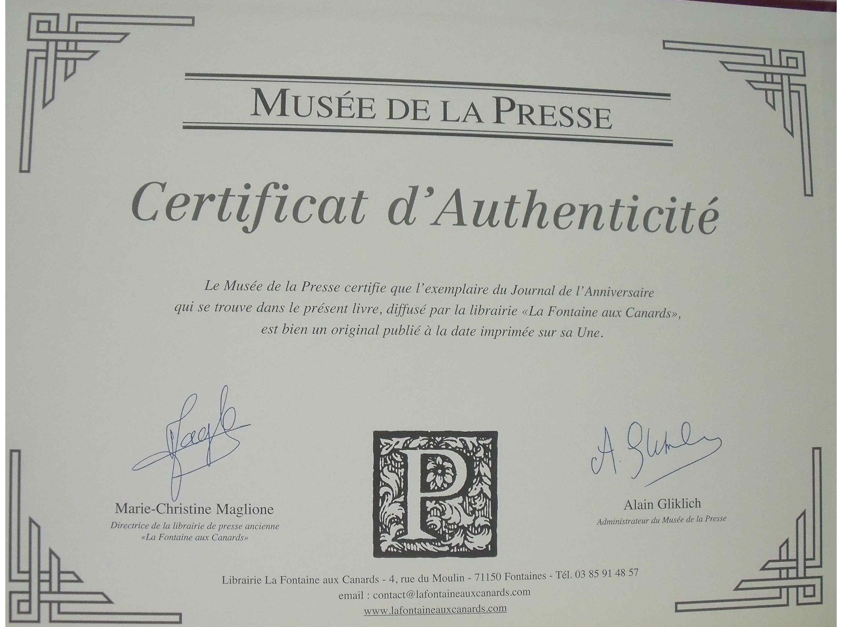 certificat d'authenticité magazine, journal, calendrier originale